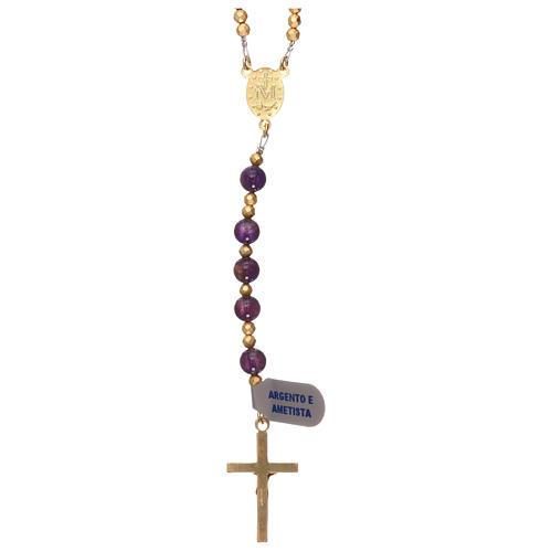 Chapelet améthyste et hématite avec croix et médaille dorées 2