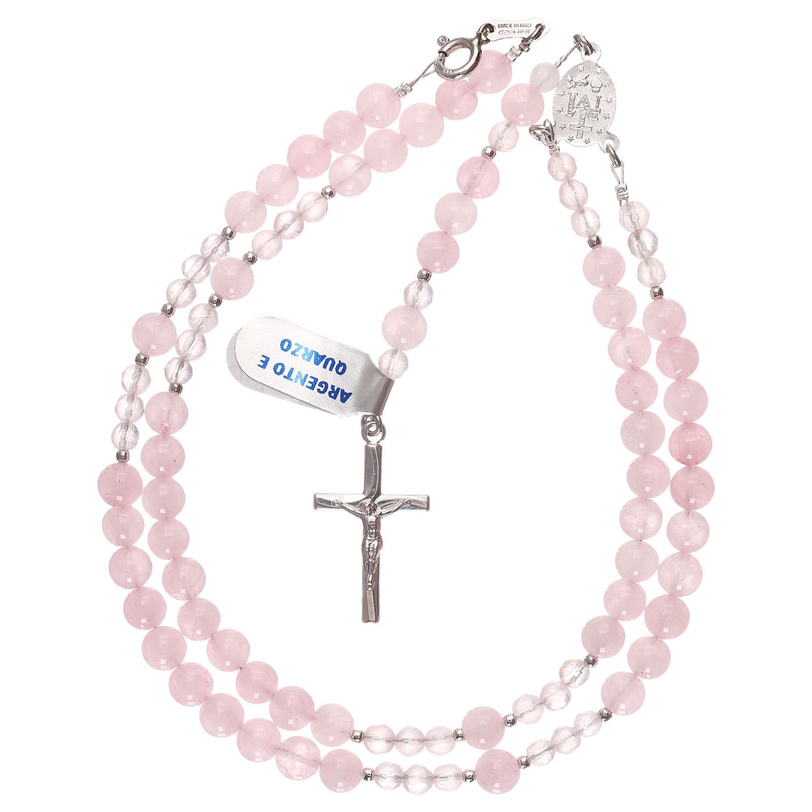 Rosario grani quarzo rosa e argento 925 4