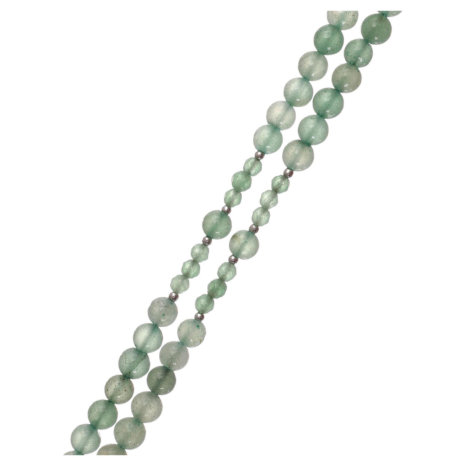 Rosario granos venturina verde y plata 925 4