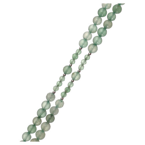 Rosario grani avventurina verde e argento 925 3