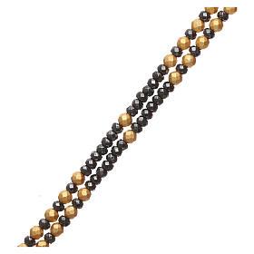 Rosario argento 925 dorato ematite brunita e dorata s3
