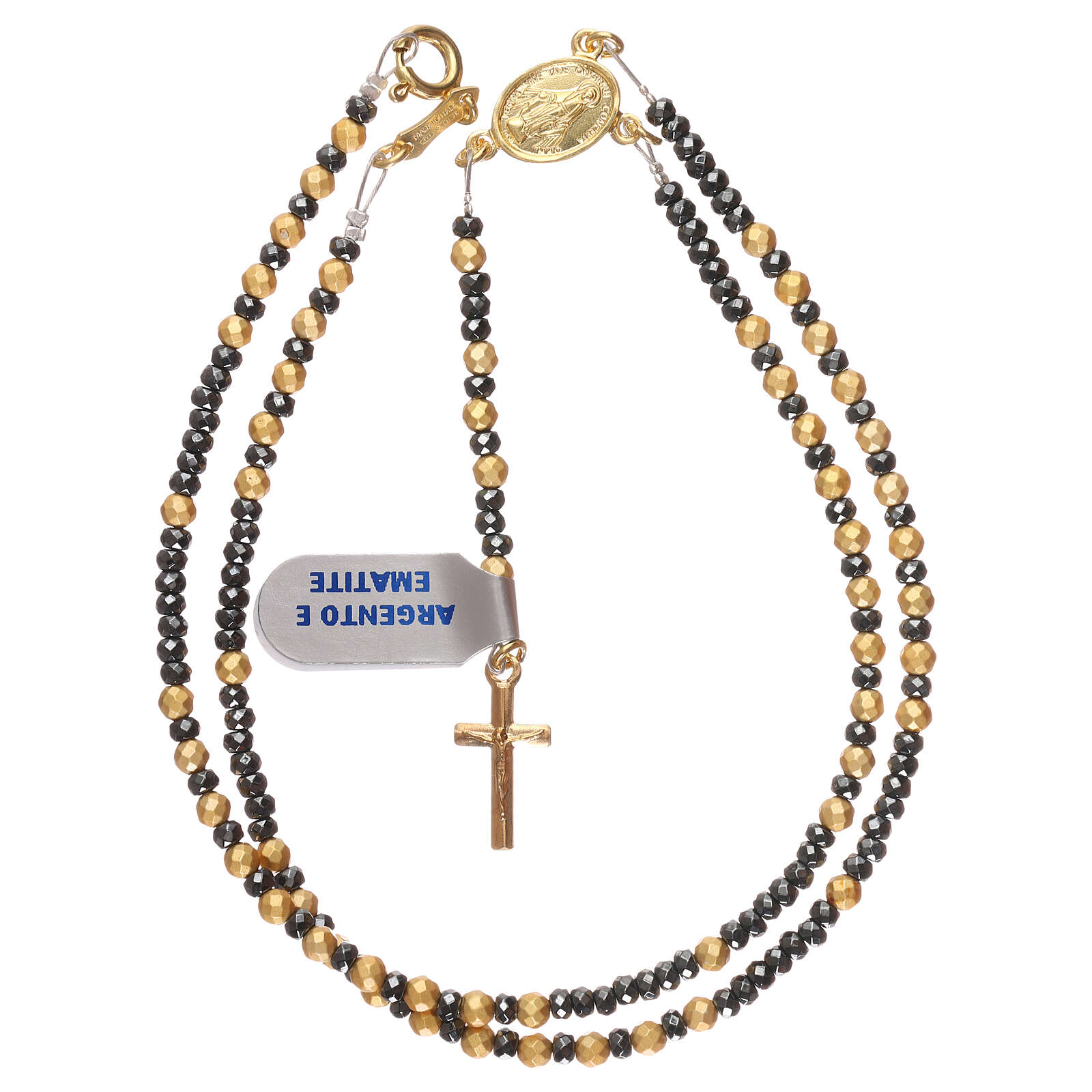 Rosary 925 gold-plated silver burnished and golden hematite 4