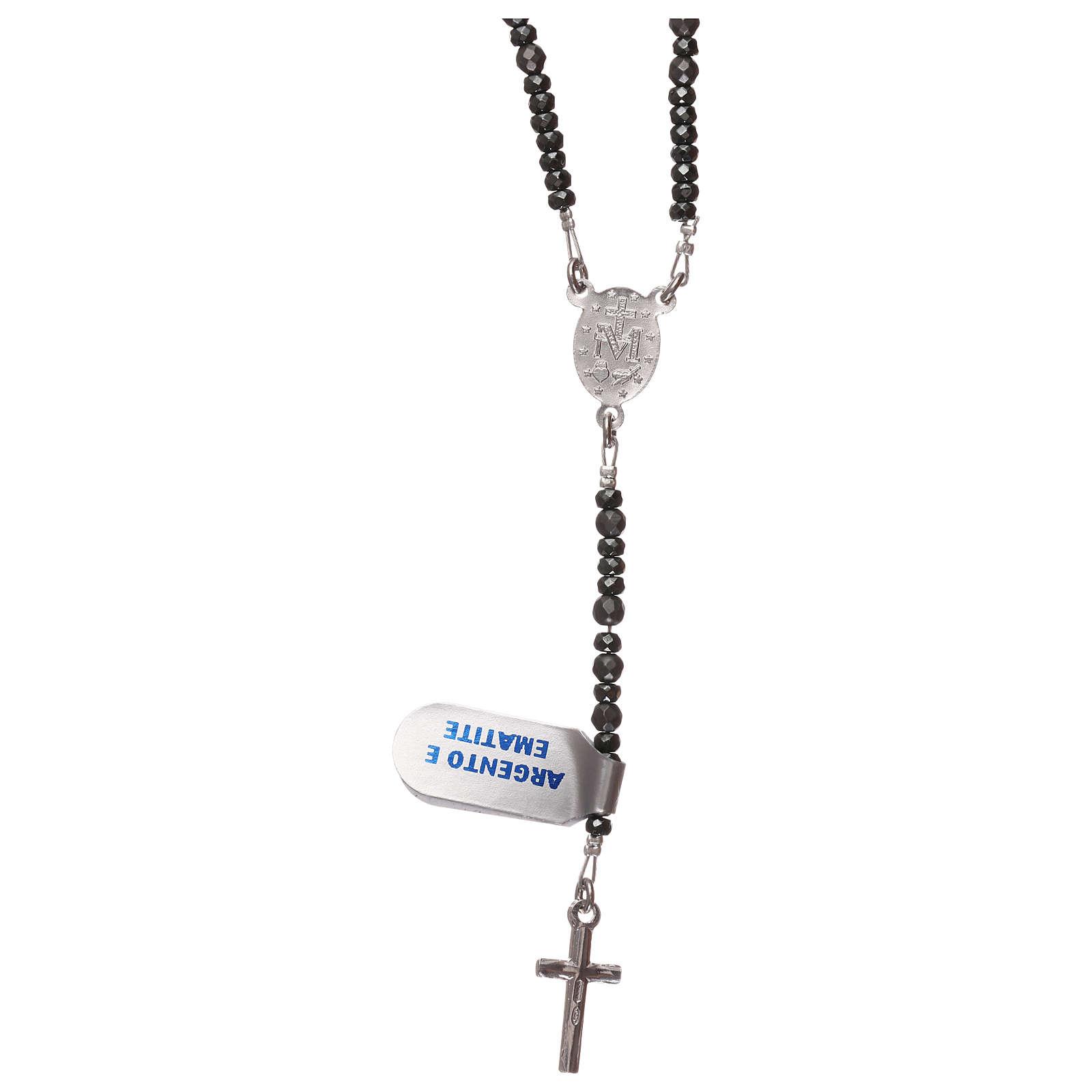 Rosario croce ed ematite argento 925 e grigio 4