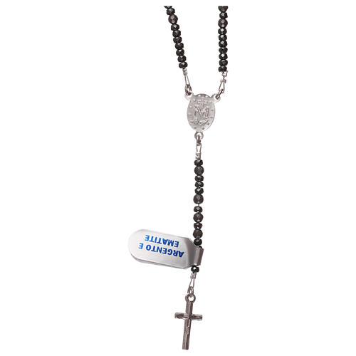 Rosario croce ed ematite argento 925 e grigio 2