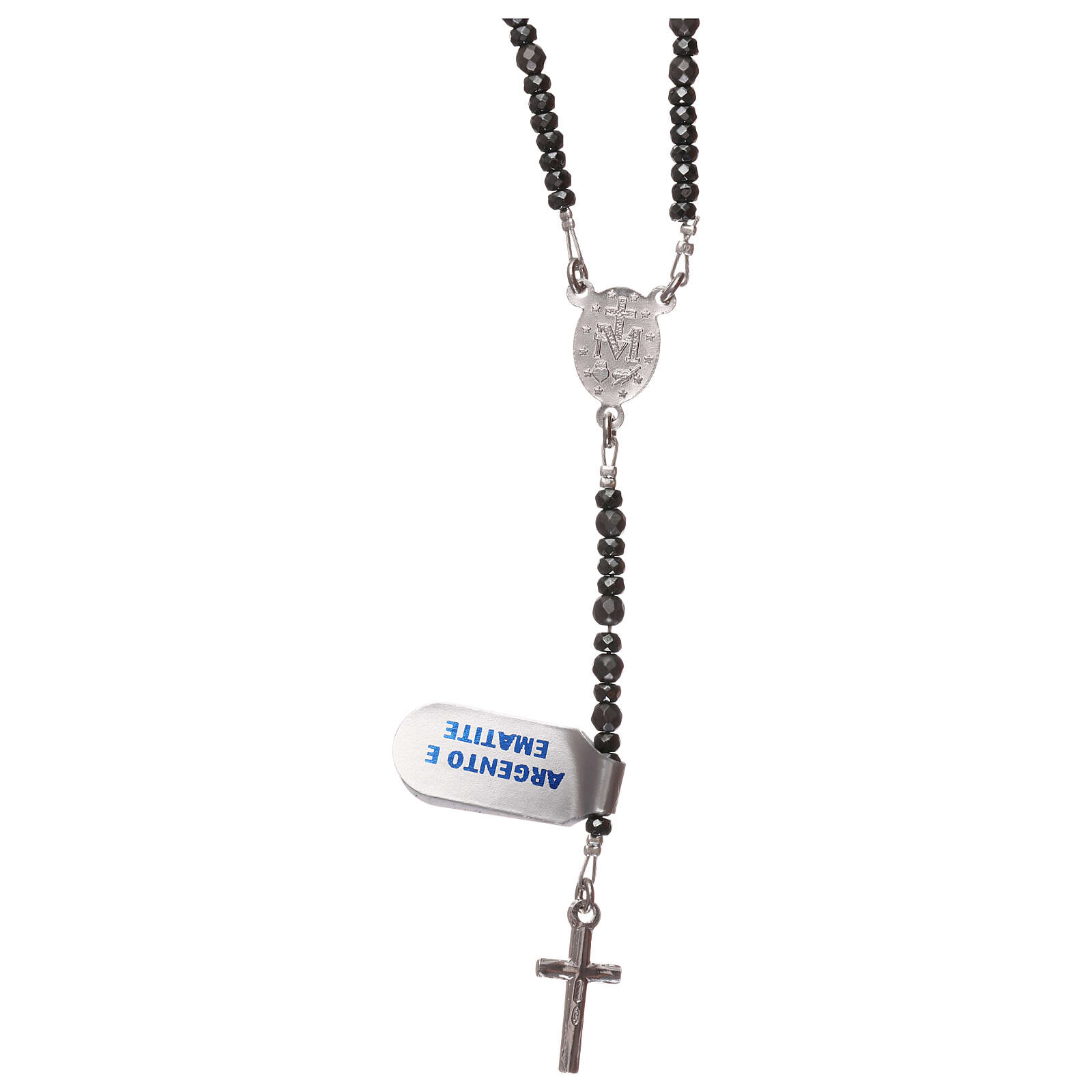Rosary silver cross and grey hematite beads 4