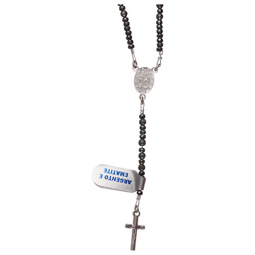Rosary silver cross and grey hematite beads 2
