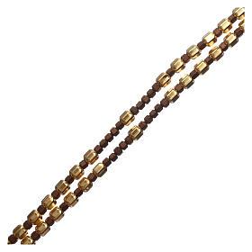 Rosario grani argento 925 dorato esagonali ed ematite marrone  s3