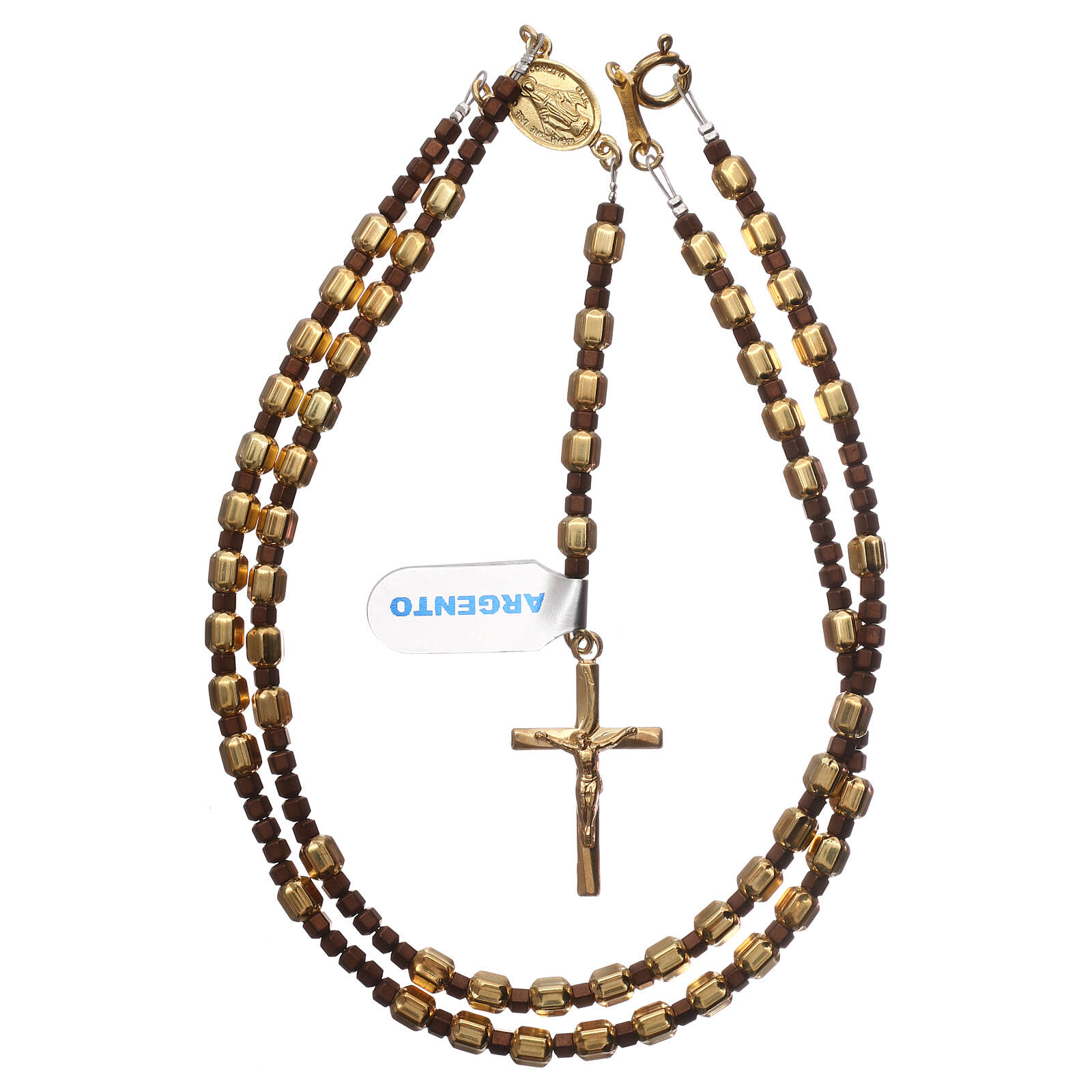 Rosary 925 gold-plated silver hexagonal beads and brown hematite 4