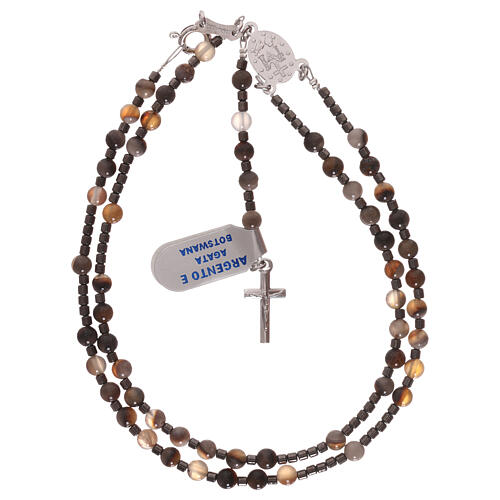 Rosary 925 silver beads of Botswana agate and hematite 4