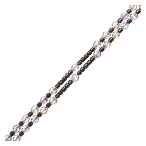 Rosario in argento 925 grani Swarovski bianchi 3