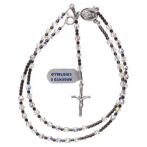 Rosario in argento 925 grani Swarovski bianchi 4