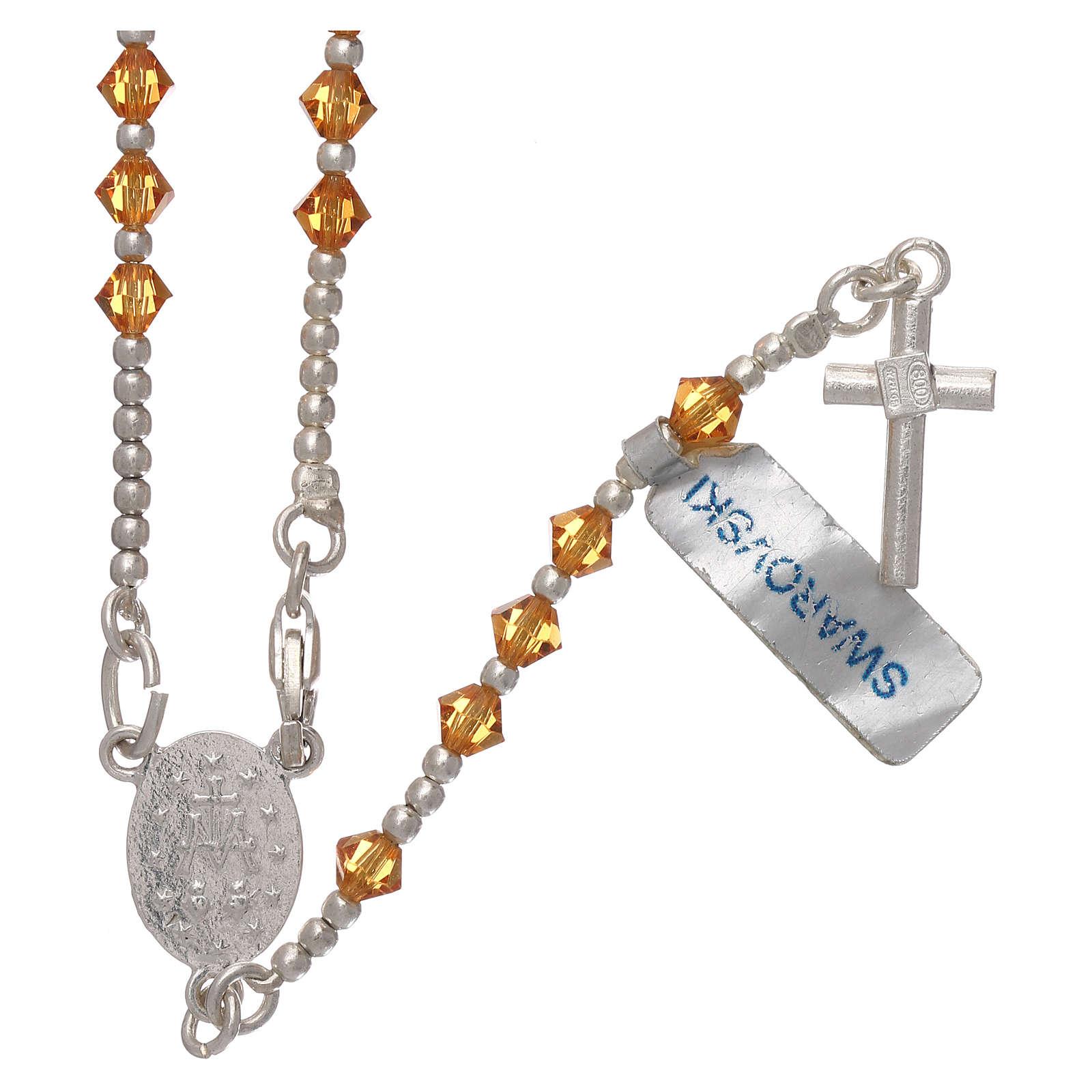 Rosario argento 800 grani Swarovski arancioni 4