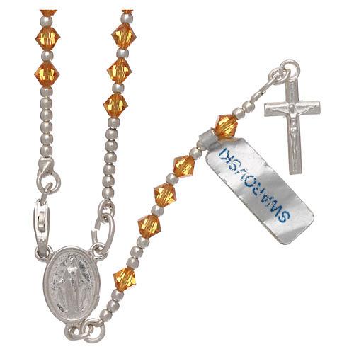 Rosario argento 800 grani Swarovski arancioni 1