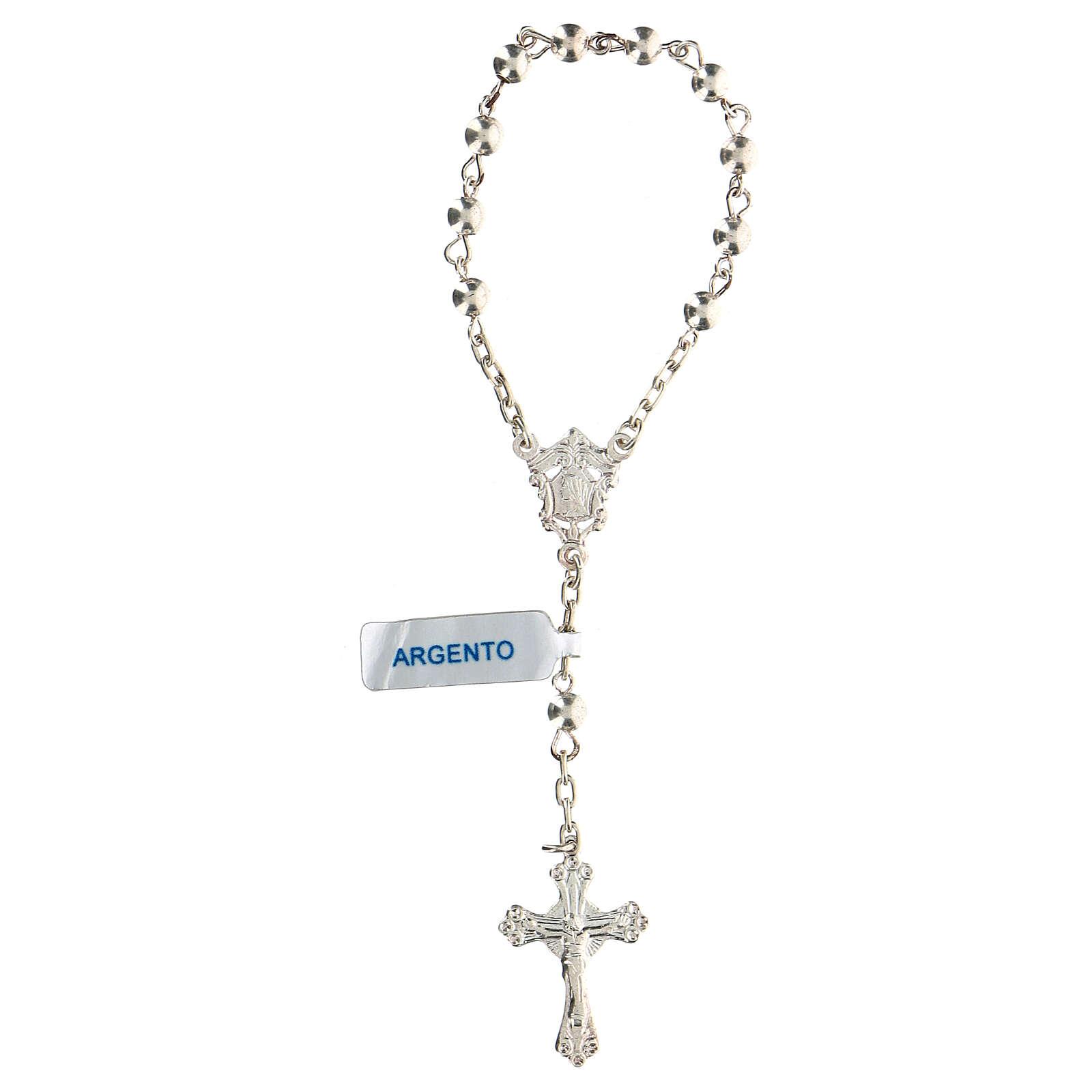 Decena rosario con granos llenos de plata 4 mm 4