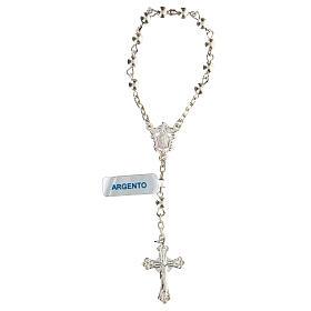Decena rosario con granos llenos de plata 4 mm s1