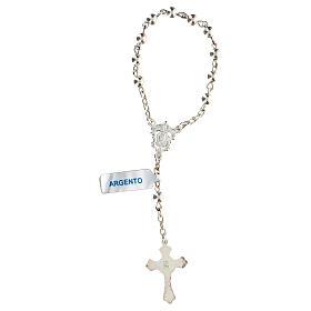 Decena rosario con granos llenos de plata 4 mm s2