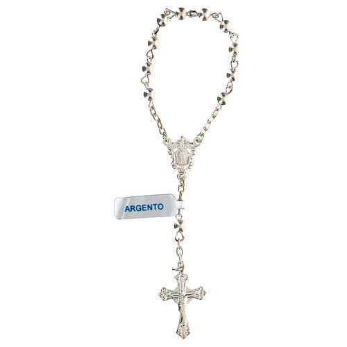 Decena rosario con granos llenos de plata 4 mm 1