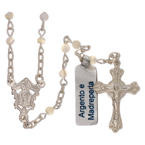 Collar rosario de plata 800 y nácar 1