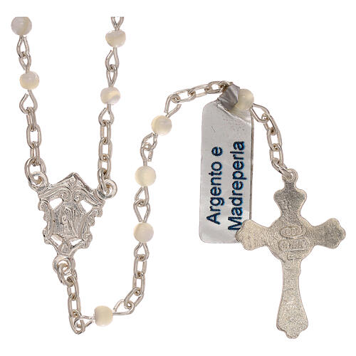 Collar rosario de plata 800 y nácar 2