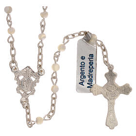 Collana rosario in argento 800 e madreperla