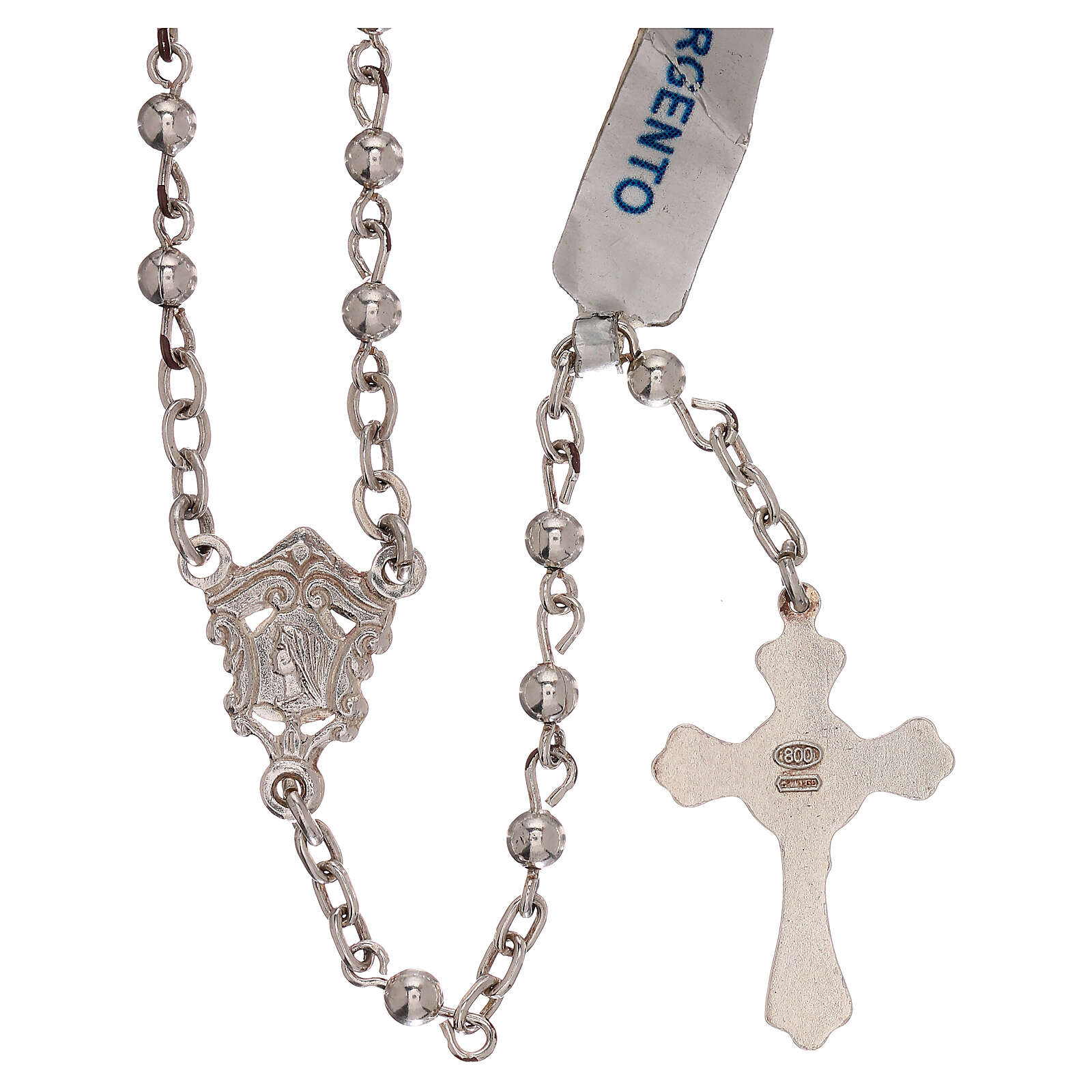 Rosary of 800 silver with smooth beads 4