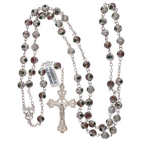 Rosary of 800 silver with white cloisonné beads s4