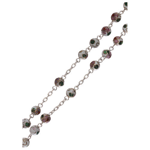 Rosary of 800 silver with white cloisonné beads 3