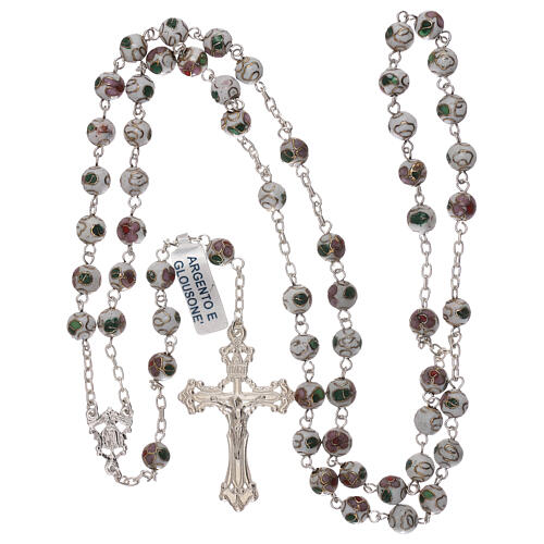 Rosary of 800 silver with white cloisonné beads 4