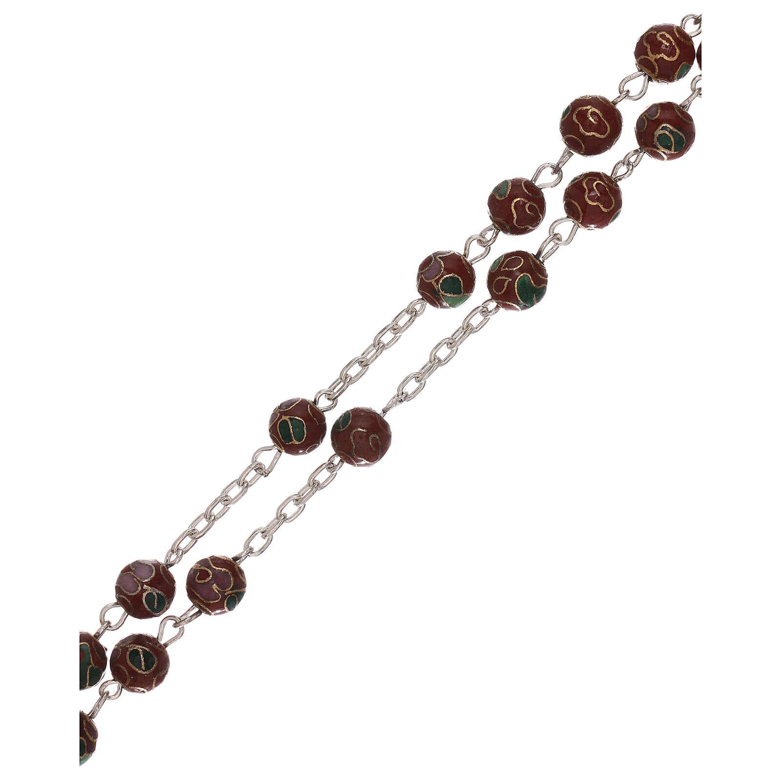 Rosario de plata 800 con granos cloisoné marrón 4