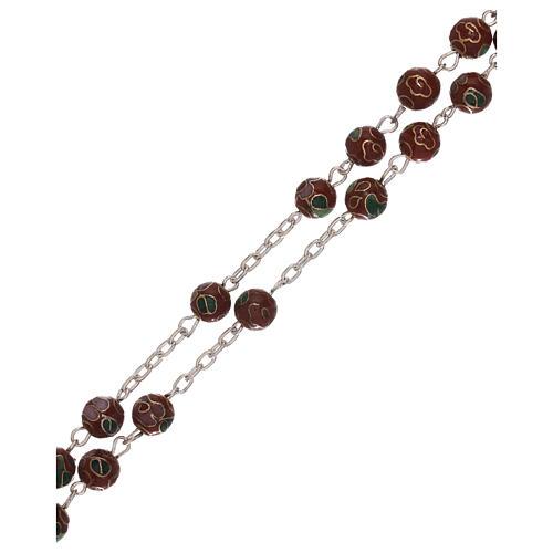 Rosario in argento 800 con grani cloisonné marrone 3