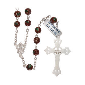 Rosary of 800 silver with brown cloisonné beads s2