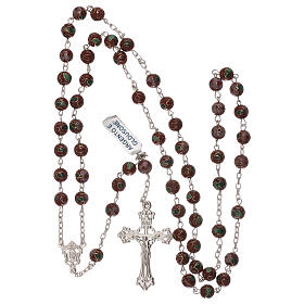 Rosary of 800 silver with brown cloisonné beads s4