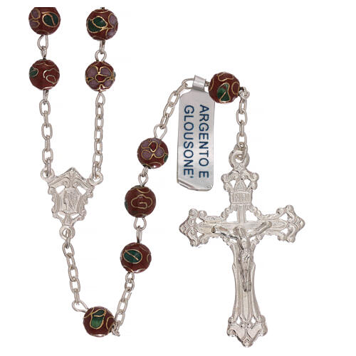 Rosary of 800 silver with brown cloisonné beads 1