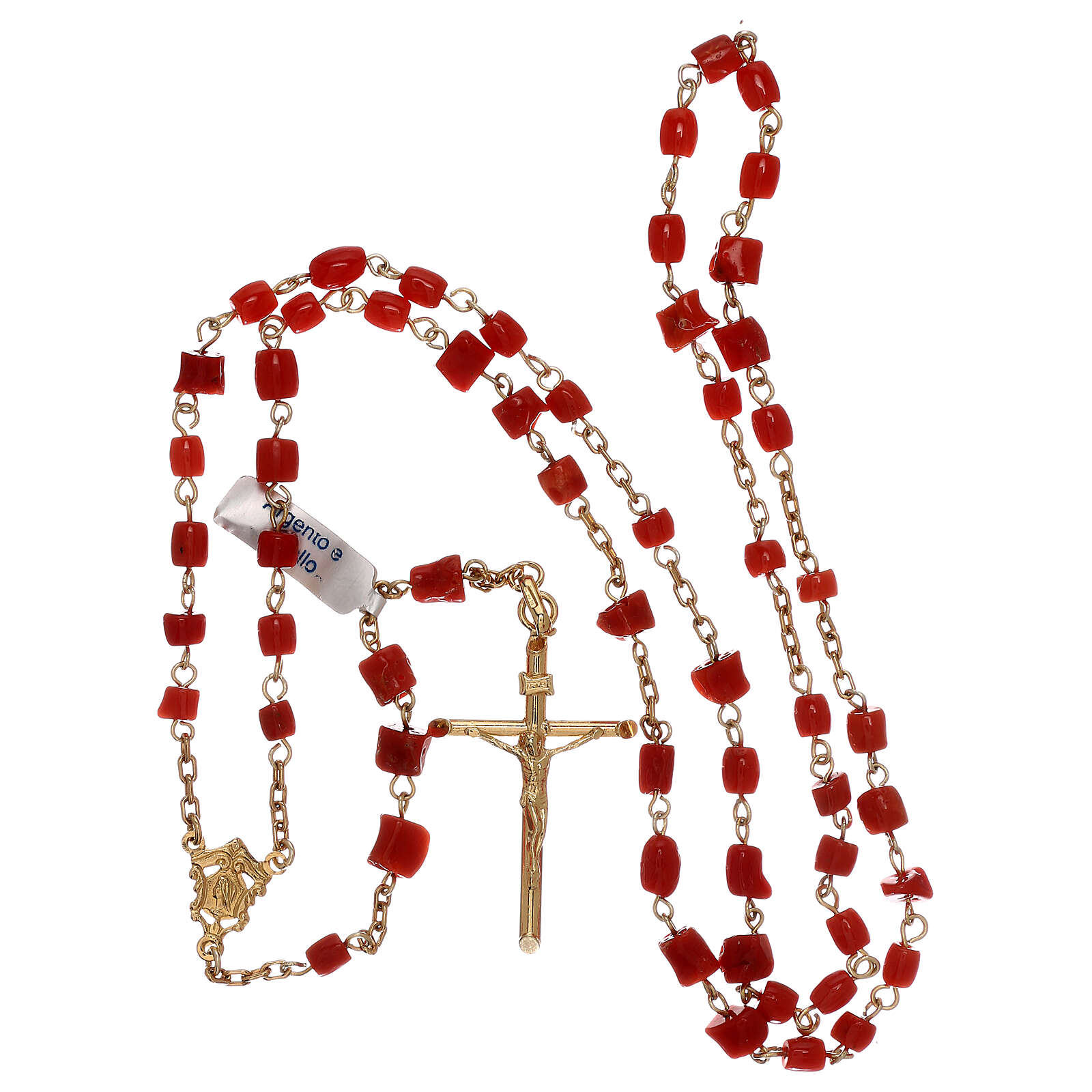 Rosary of gold-plated silver and coral beads 4