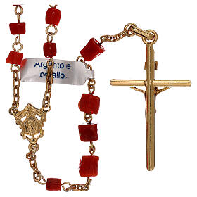 Rosary of gold-plated silver and coral beads s2