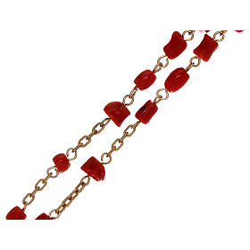 Rosary of gold-plated silver and coral beads s3