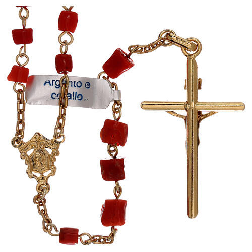 Rosary of gold-plated silver and coral beads 2