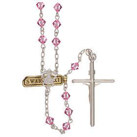 Rosario de plata y Swarovski rosa cónicos s2