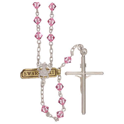 Rosario de plata y Swarovski rosa cónicos 2