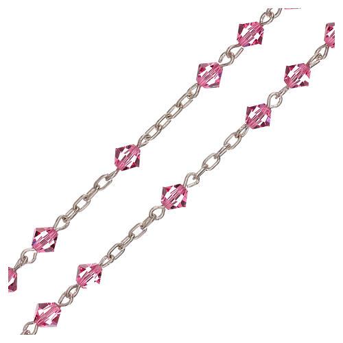 Rosario de plata y Swarovski rosa cónicos 3