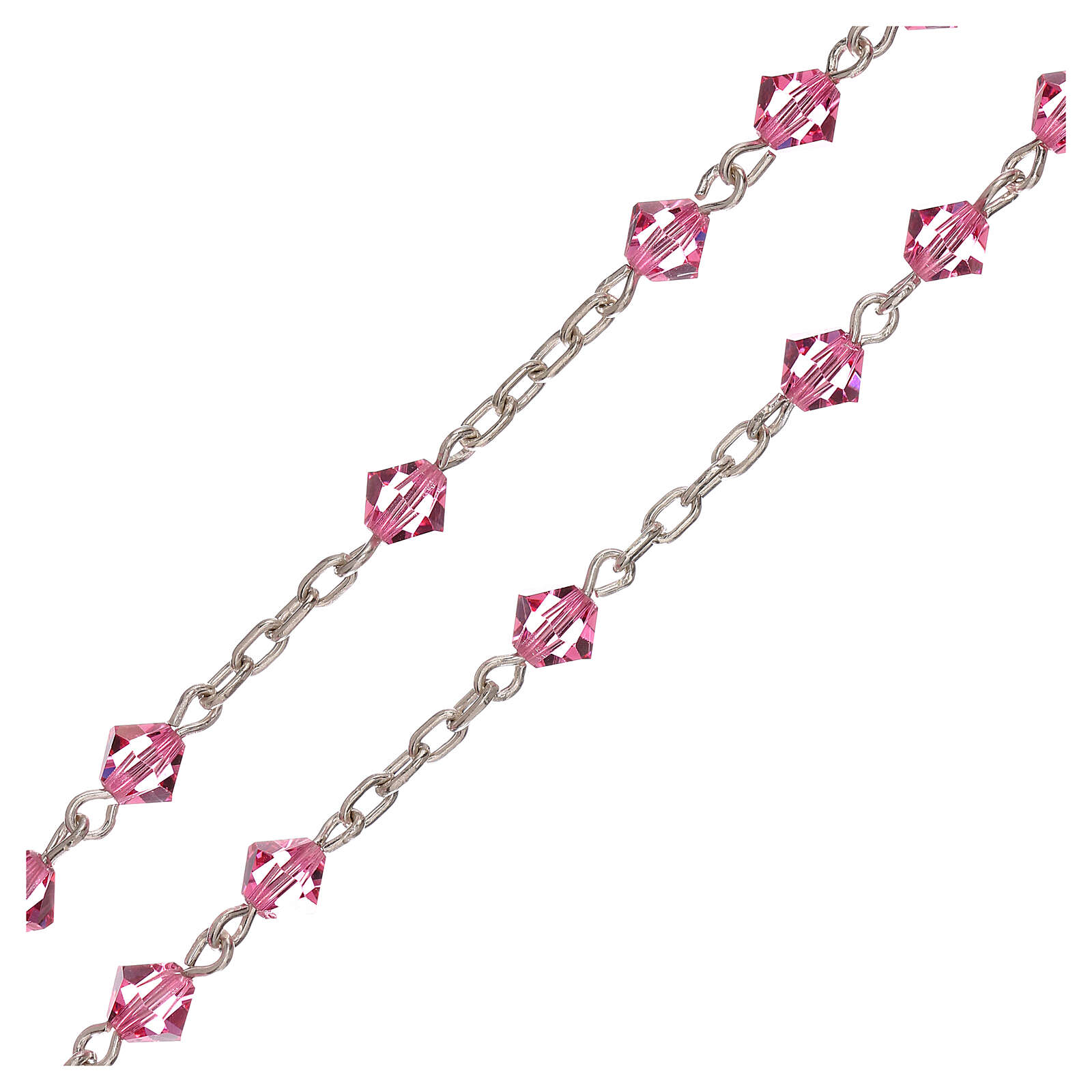 Rosario in argento e Swarovski rosa conici 4