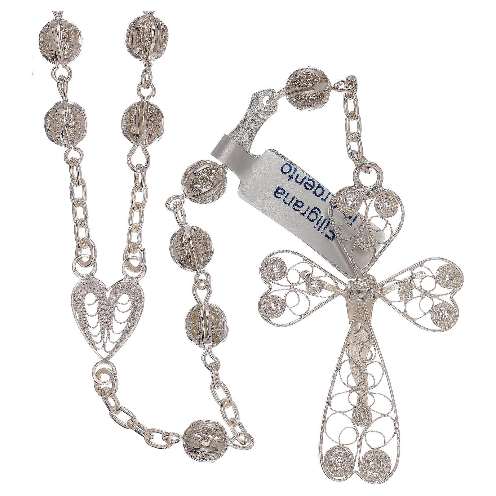 Rosario de filigrana plata 800 con cruce en forma de corazón 4