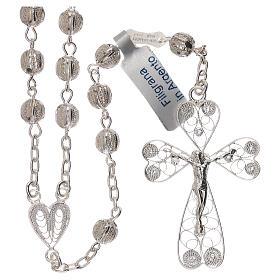 Rosario de filigrana plata 800 con cruce en forma de corazón s1