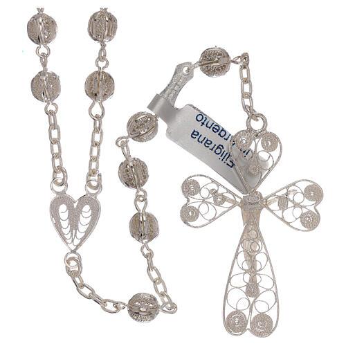 Rosario de filigrana plata 800 con cruce en forma de corazón 2
