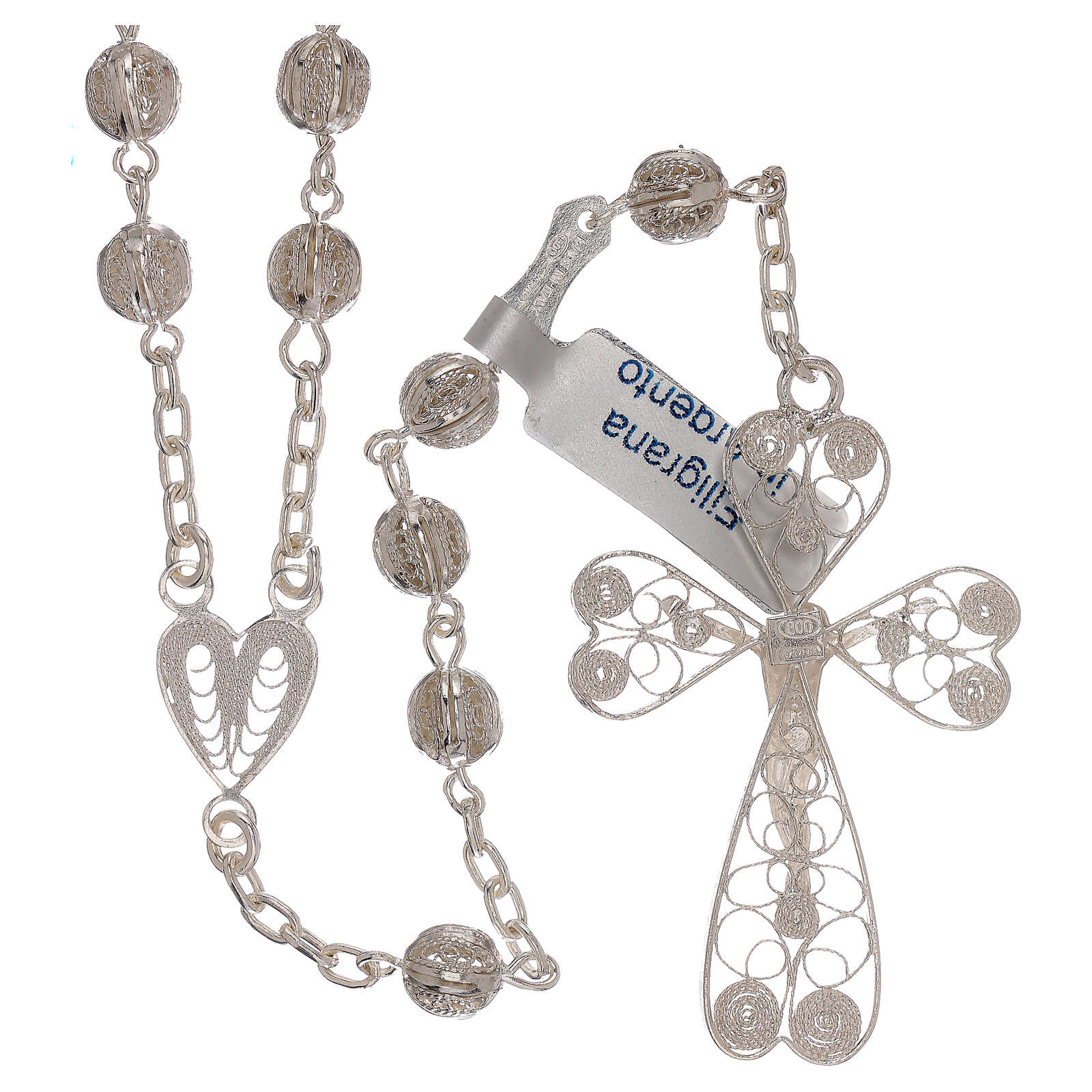 Rosary of 800 silver filigree with heart shaped medal 4