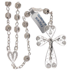 Rosary of 800 silver filigree with heart shaped medal s1