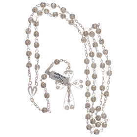 Rosary of 800 silver filigree with heart shaped medal s4