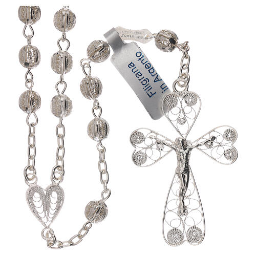Rosary of 800 silver filigree with heart shaped medal 1