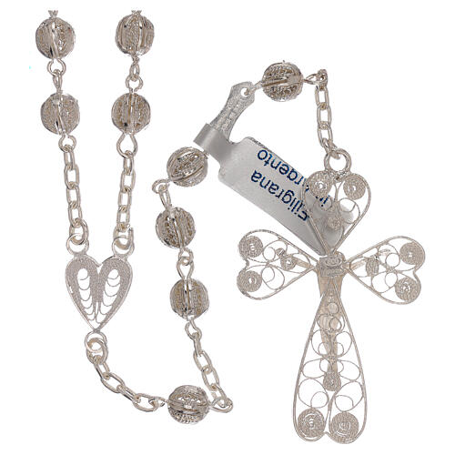 Rosary of 800 silver filigree with heart shaped medal 2