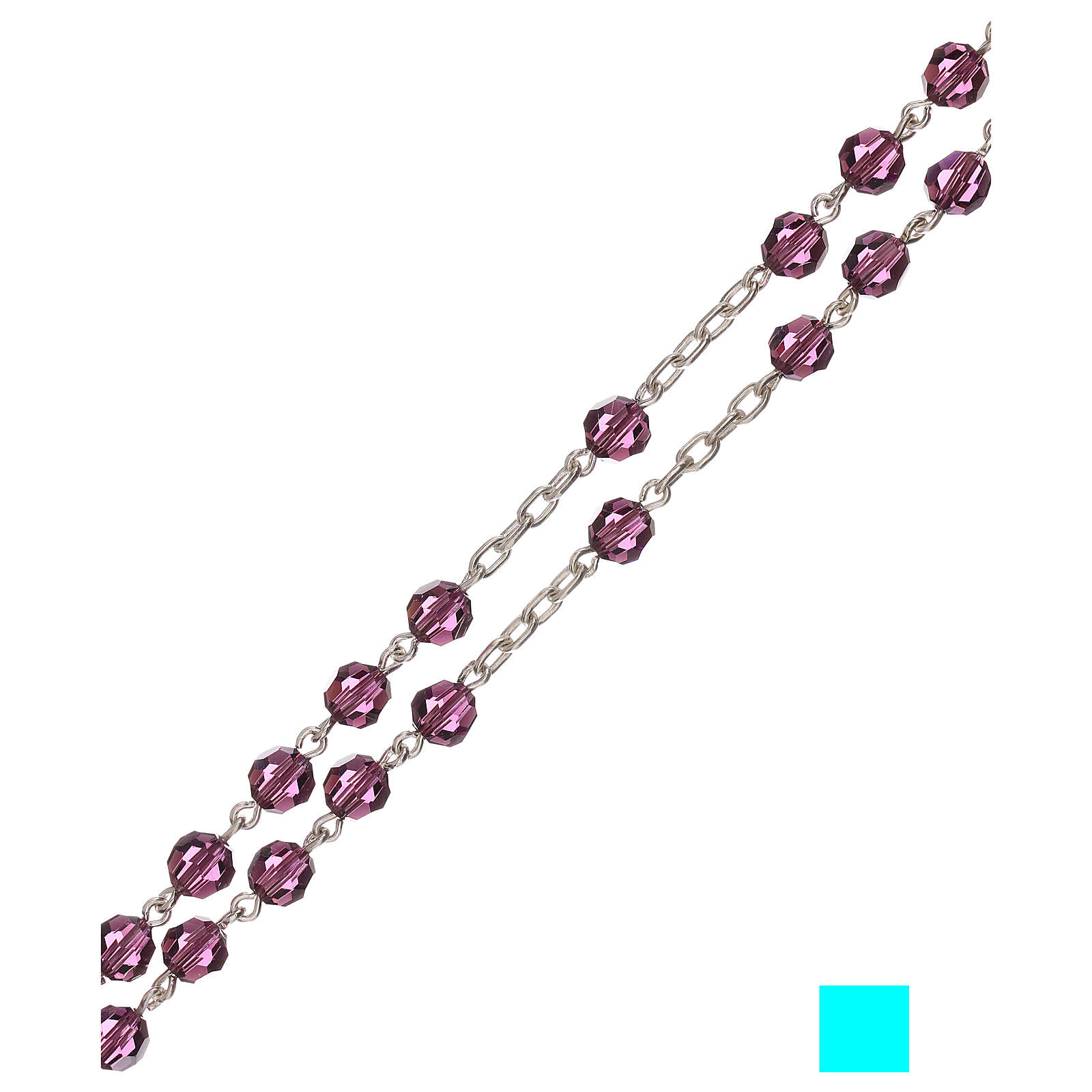 Rosary of 800 silver with violet Swarovski beads 5 mm 4